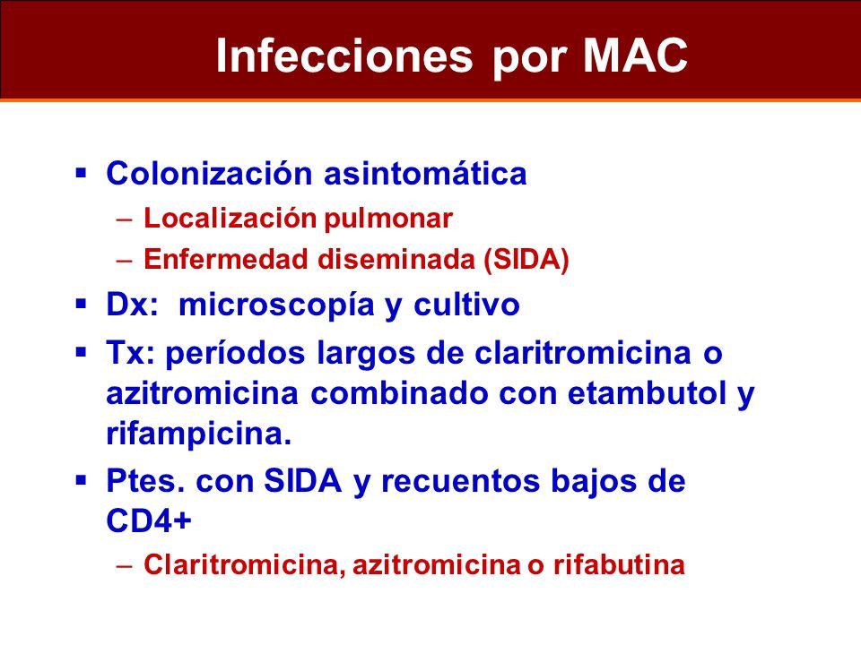 Infecciones por MAC Colonización asintomática