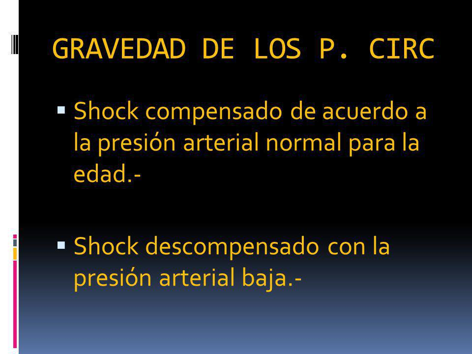 GRAVEDAD DE LOS P. CIRC Shock compensado de acuerdo a la presión arterial normal para la edad.-