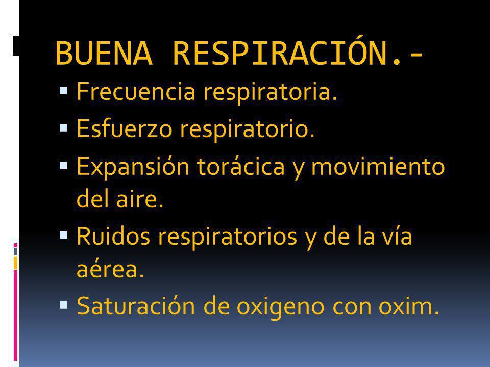 BUENA RESPIRACIÓN.- Frecuencia respiratoria. Esfuerzo respiratorio.