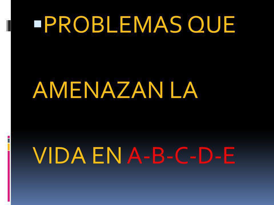 PROBLEMAS QUE AMENAZAN LA VIDA EN A-B-C-D-E