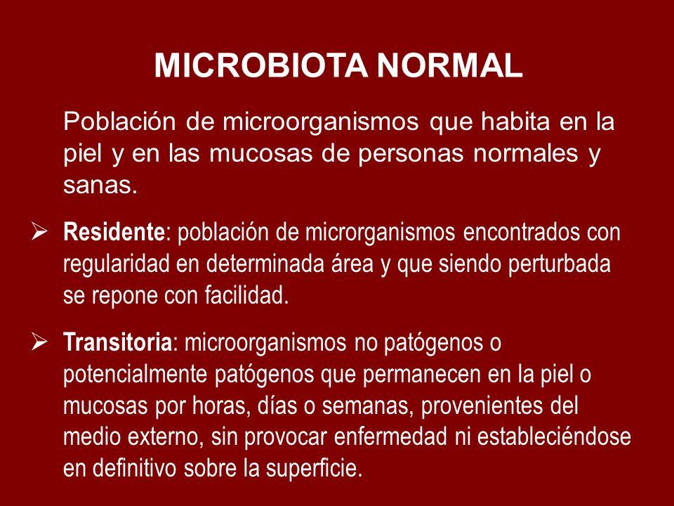 MICROBIOTA NORMAL Población de microorganismos que habita en la piel y en las mucosas de personas normales y sanas.