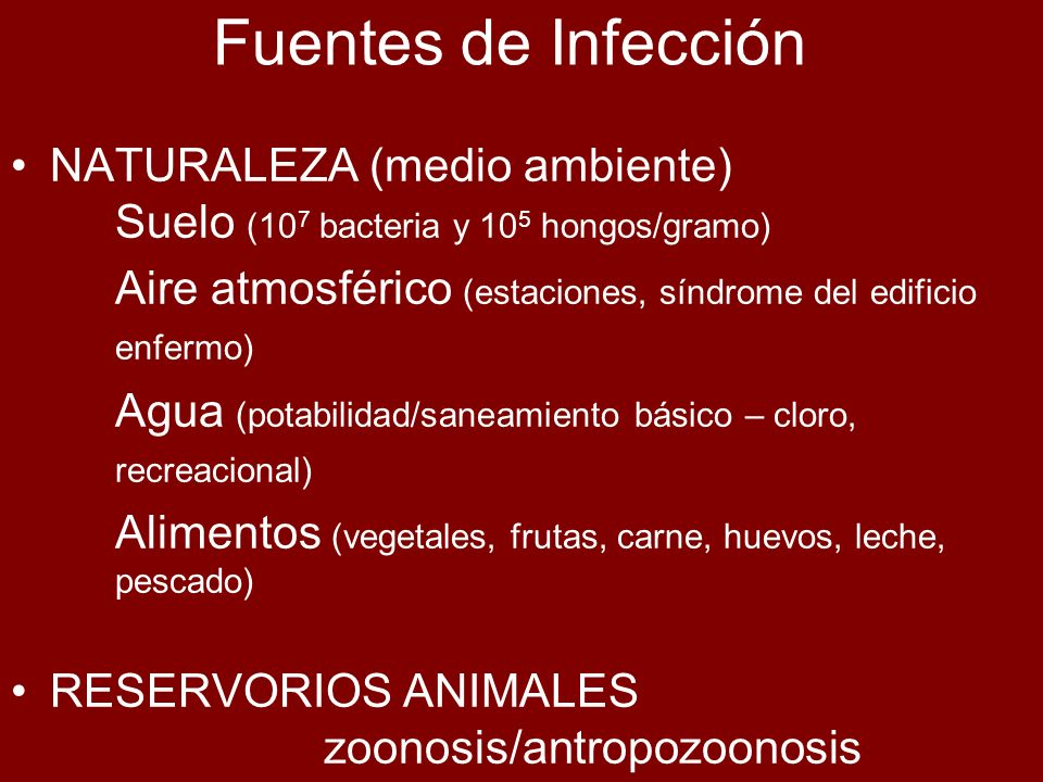 Fuentes de InfecciónNATURALEZA (medio ambiente) Suelo (107 bacteria y 105 hongos/gramo)