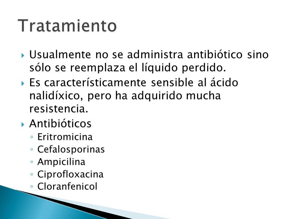 Tratamiento Usualmente no se administra antibiótico sino sólo se reemplaza el líquido perdido.
