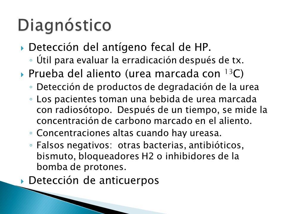 Diagnóstico Detección del antígeno fecal de HP.