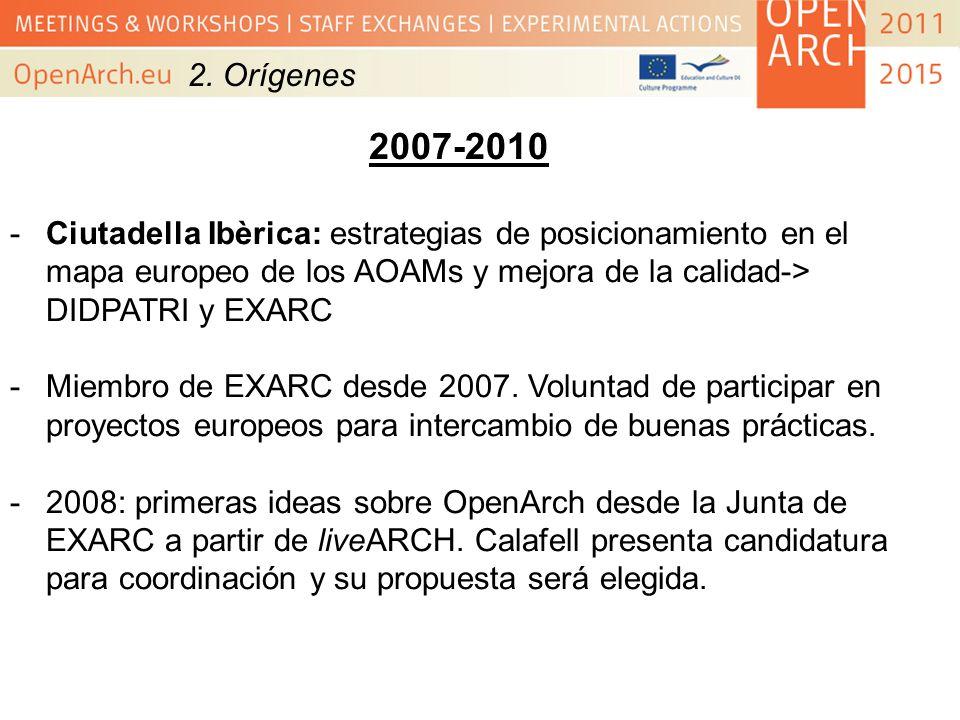 2. Orígenes2007-2010. Ciutadella Ibèrica: estrategias de posicionamiento en el mapa europeo de los AOAMs y mejora de la calidad-> DIDPATRI y EXARC.