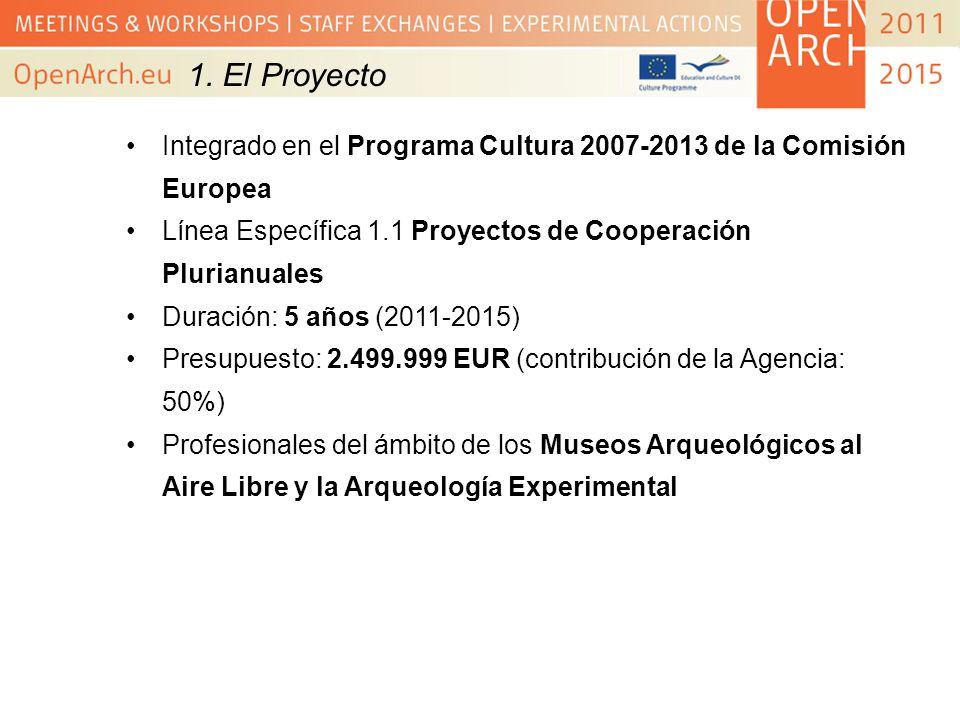 1. El ProyectoIntegrado en el Programa Cultura 2007-2013 de la Comisión Europea. Línea Específica 1.1 Proyectos de Cooperación Plurianuales.