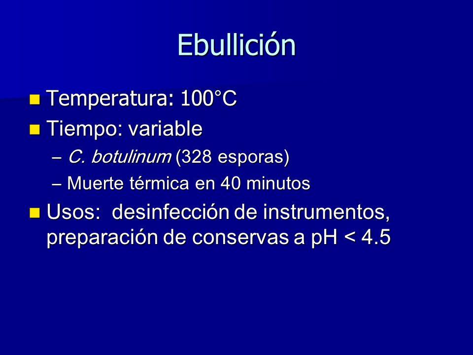 Ebullición Temperatura: 100°C Tiempo: variable