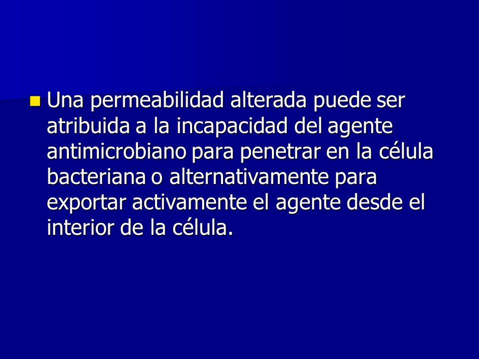 Una permeabilidad alterada puede ser atribuida a la incapacidad del agente antimicrobiano para penetrar en la célula bacteriana o alternativamente para exportar activamente el agente desde el interior de la célula.