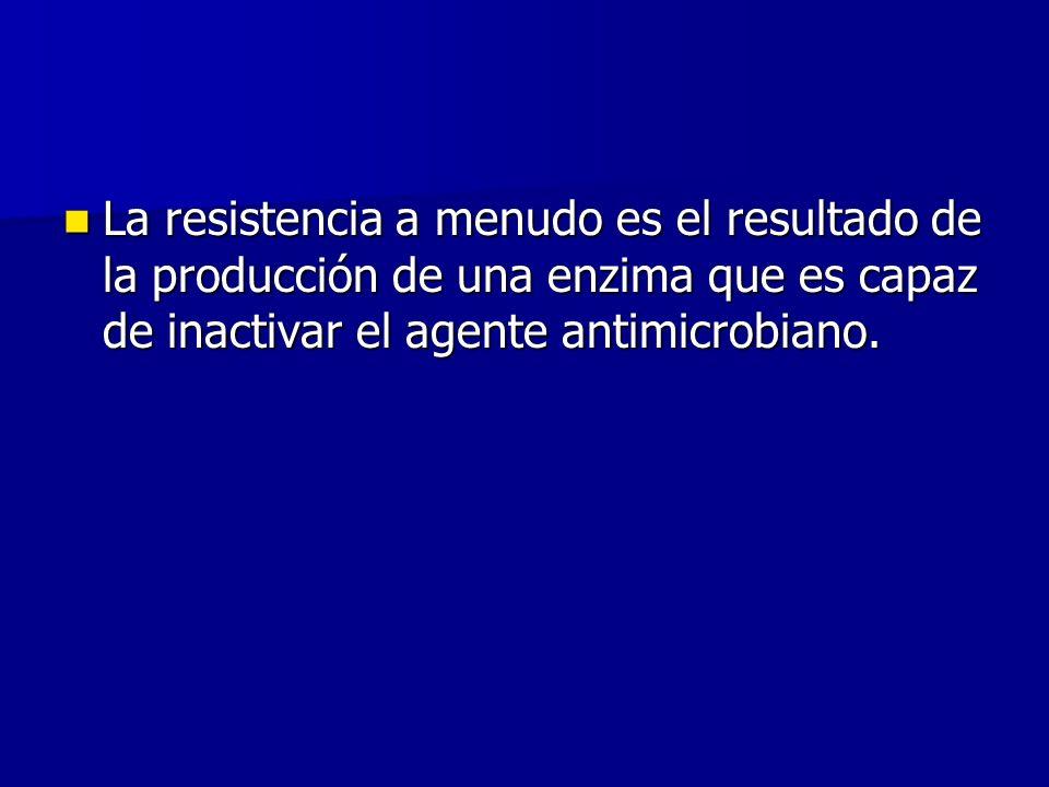 La resistencia a menudo es el resultado de la producción de una enzima que es capaz de inactivar el agente antimicrobiano.
