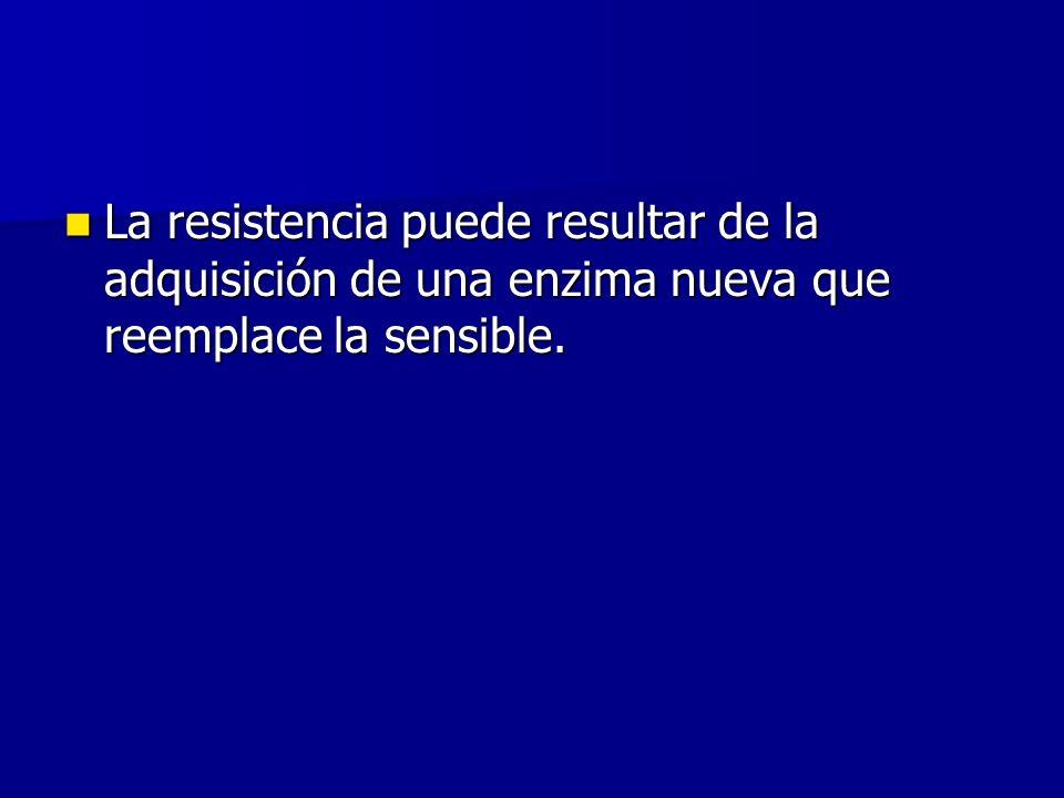 La resistencia puede resultar de la adquisición de una enzima nueva que reemplace la sensible.