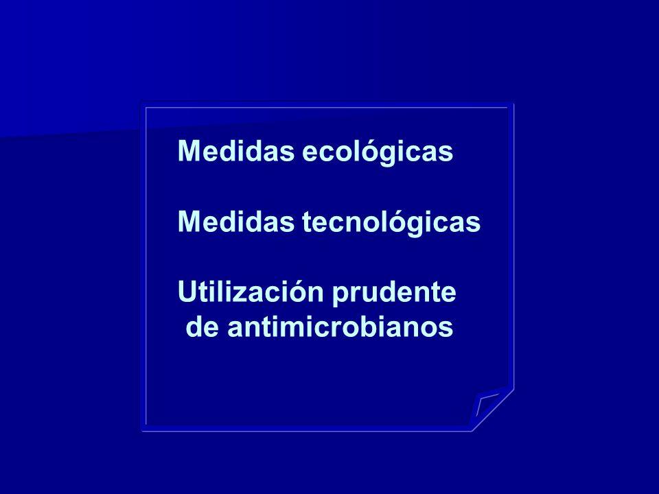 Medidas ecológicas Medidas tecnológicas Utilización prudente de antimicrobianos