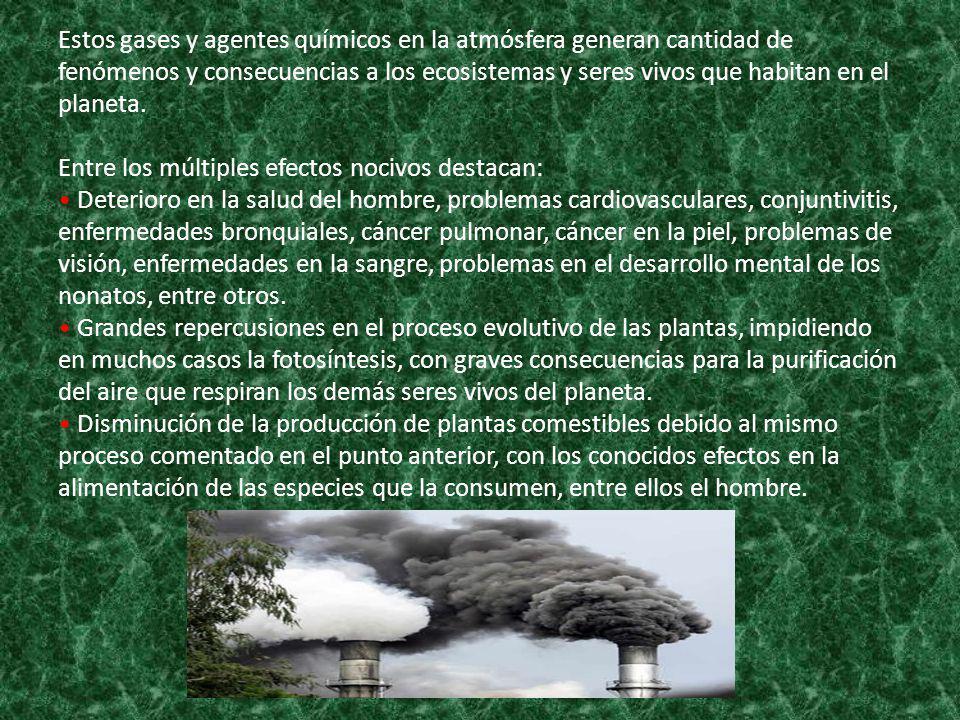 Estos gases y agentes químicos en la atmósfera generan cantidad de fenómenos y consecuencias a los ecosistemas y seres vivos que habitan en el planeta.