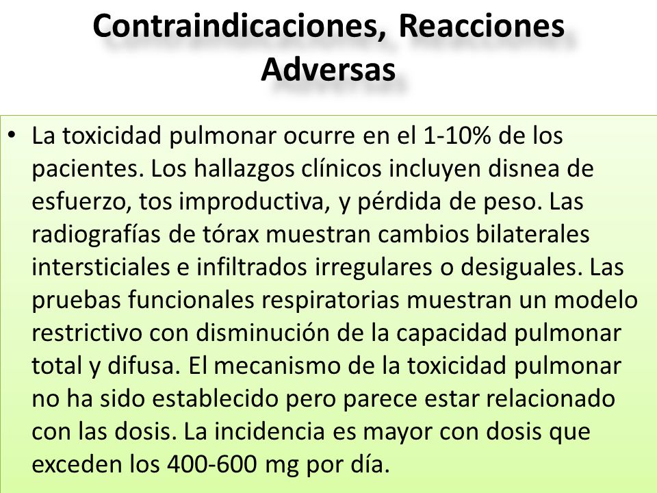 Contraindicaciones, Reacciones Adversas