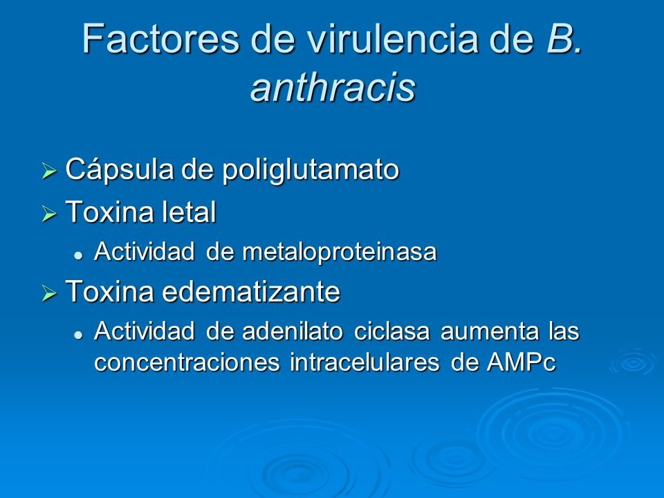 Factores de virulencia de B. anthracis