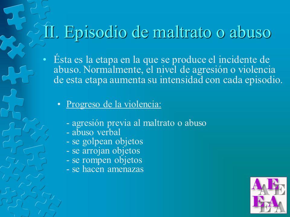 II. Episodio de maltrato o abuso