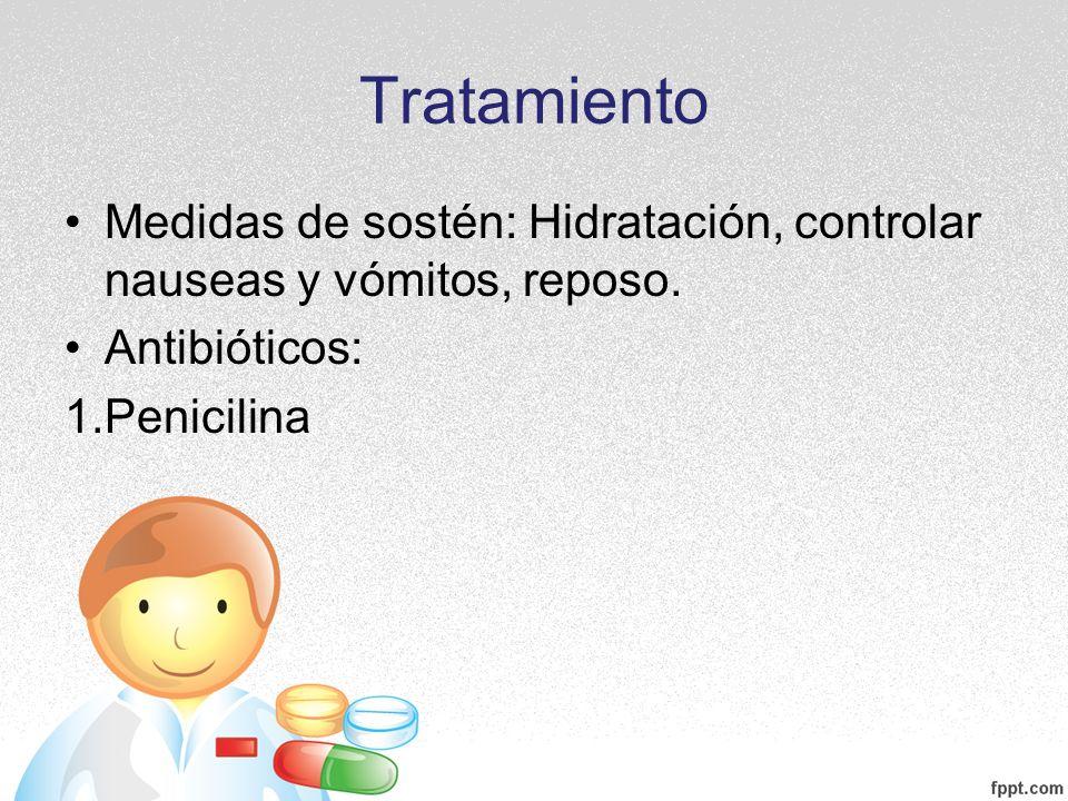 Tratamiento Medidas de sostén: Hidratación, controlar nauseas y vómitos, reposo.