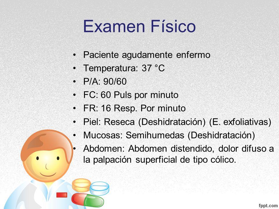 Examen Físico Paciente agudamente enfermo Temperatura: 37 °C