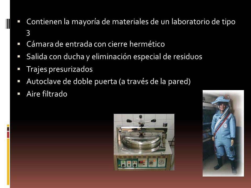 Contienen la mayoría de materiales de un laboratorio de tipo 3