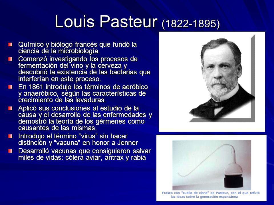 Louis Pasteur (1822-1895) Químico y biólogo francés que fundó la ciencia de la microbiología.