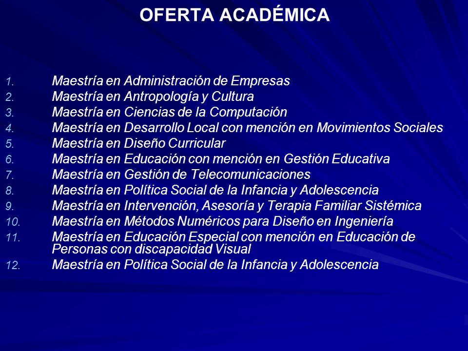 OFERTA ACADÉMICA Maestría en Administración de Empresas