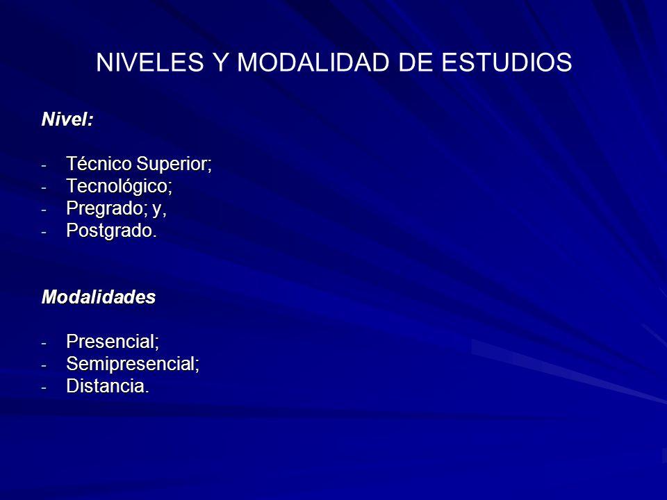 NIVELES Y MODALIDAD DE ESTUDIOS