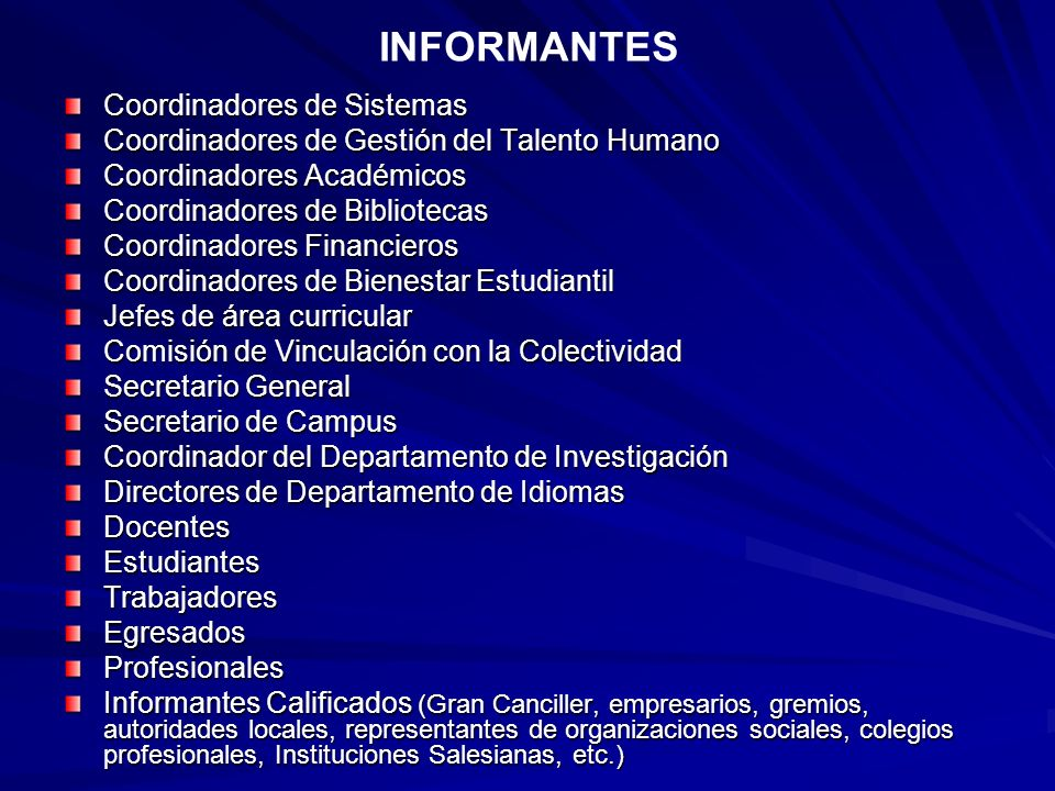 INFORMANTES Coordinadores de Sistemas