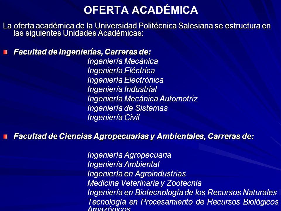 OFERTA ACADÉMICA La oferta académica de la Universidad Politécnica Salesiana se estructura en las siguientes Unidades Académicas: