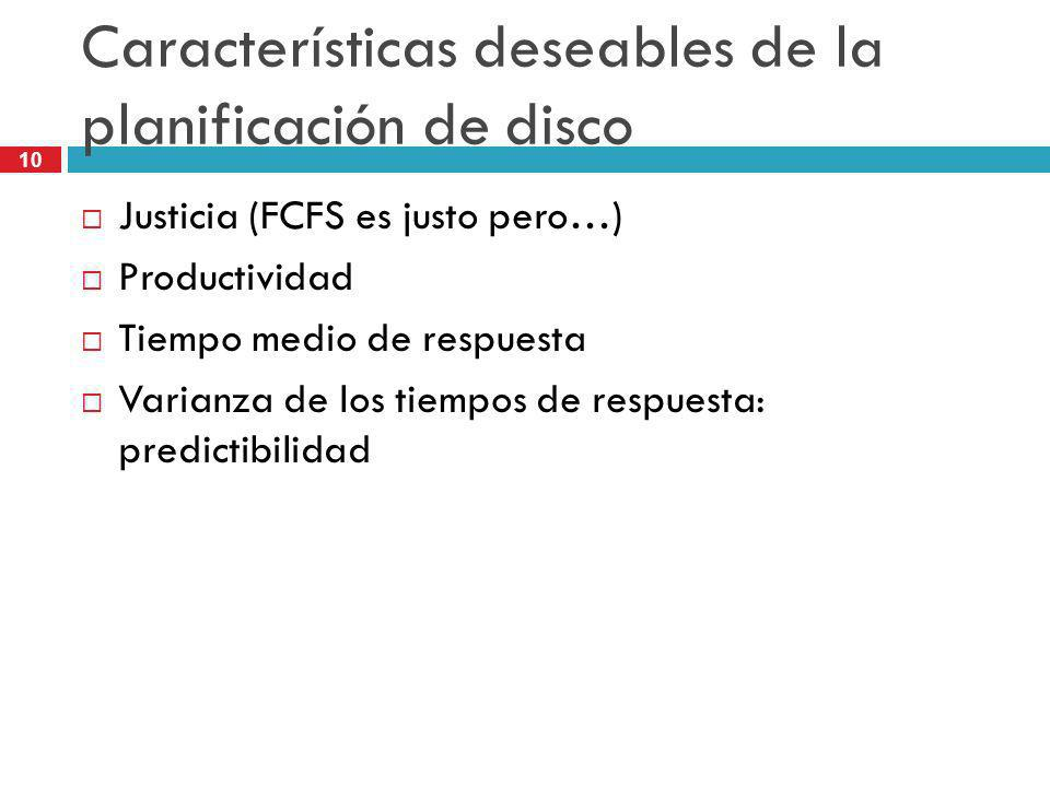 Características deseables de la planificación de disco