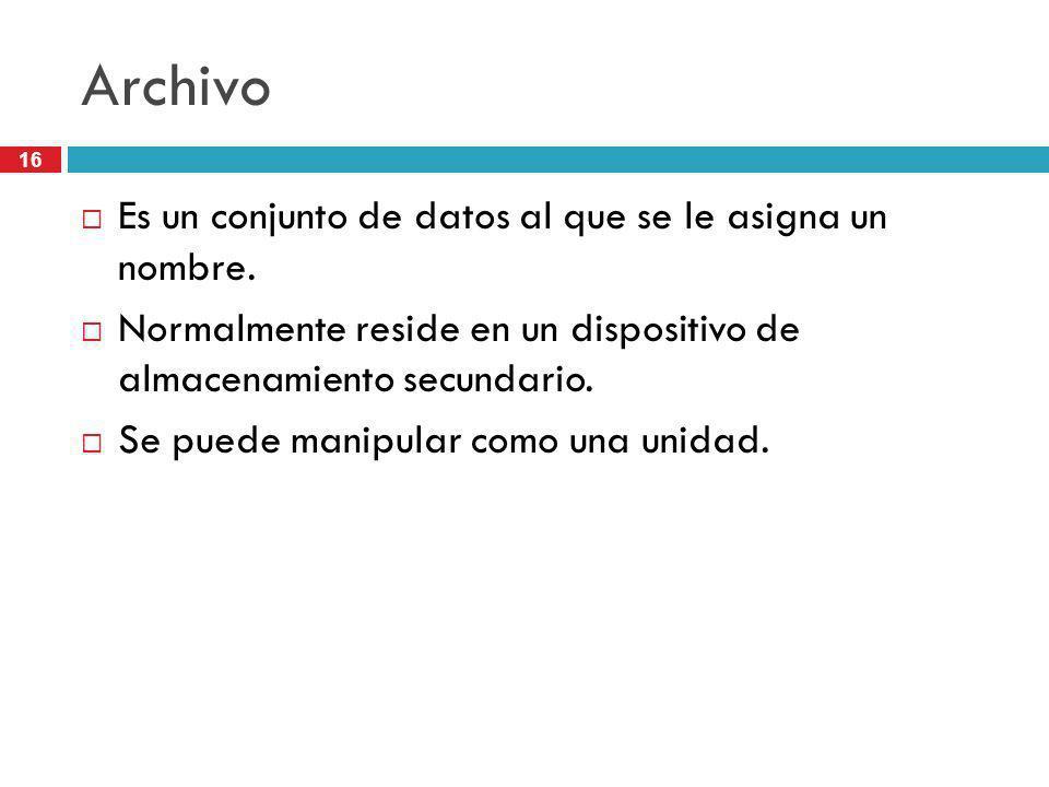 Archivo Es un conjunto de datos al que se le asigna un nombre.