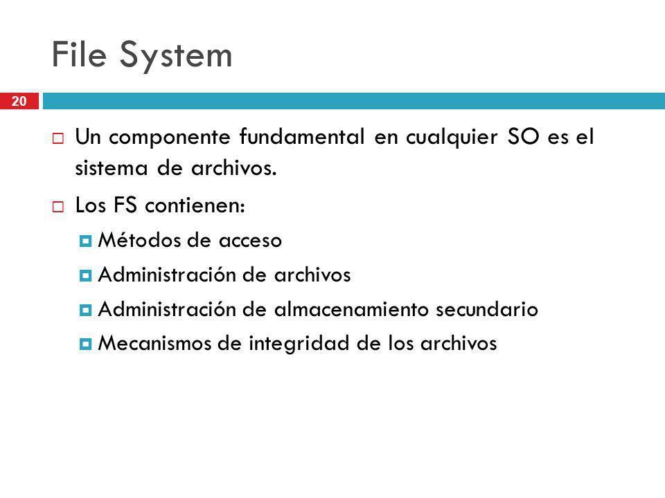 File System Un componente fundamental en cualquier SO es el sistema de archivos. Los FS contienen: