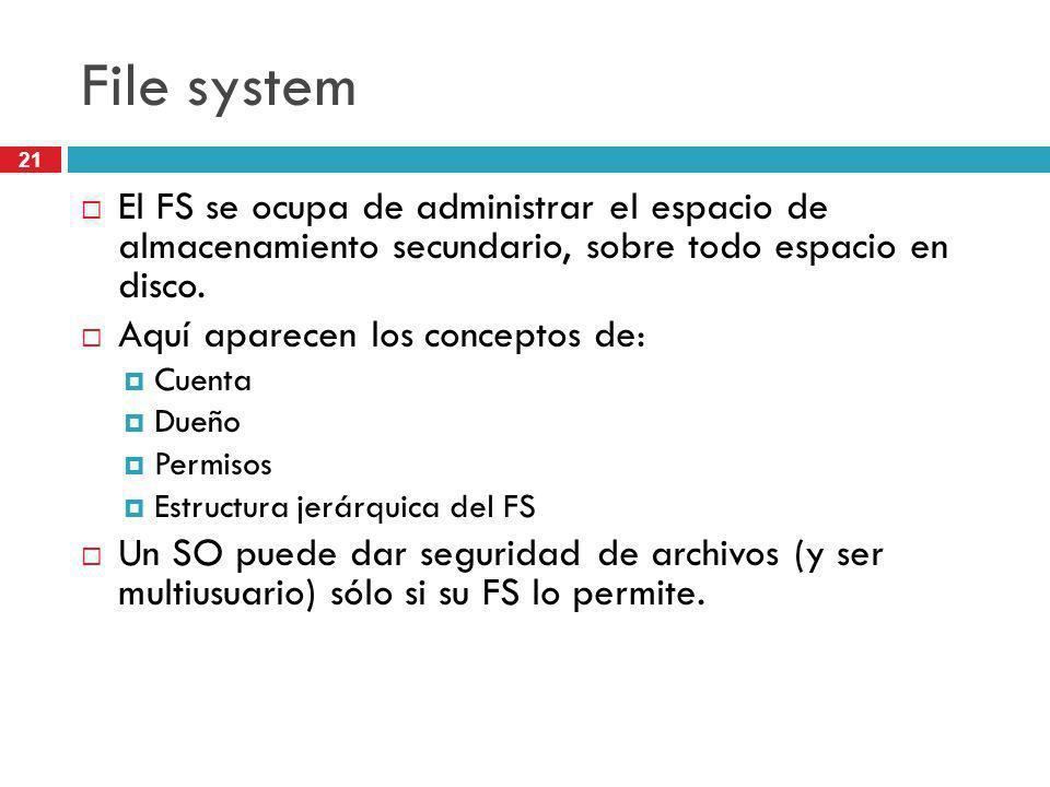 File system El FS se ocupa de administrar el espacio de almacenamiento secundario, sobre todo espacio en disco.