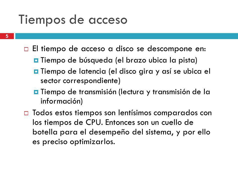 Tiempos de acceso El tiempo de acceso a disco se descompone en: