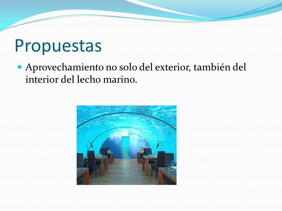 Propuestas Aprovechamiento no solo del exterior, también del interior del lecho marino.