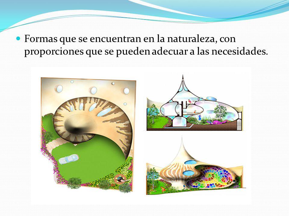 Formas que se encuentran en la naturaleza, con proporciones que se pueden adecuar a las necesidades.
