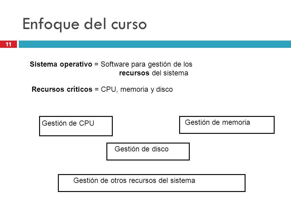 Enfoque del curso Sistema operativo = Software para gestión de los