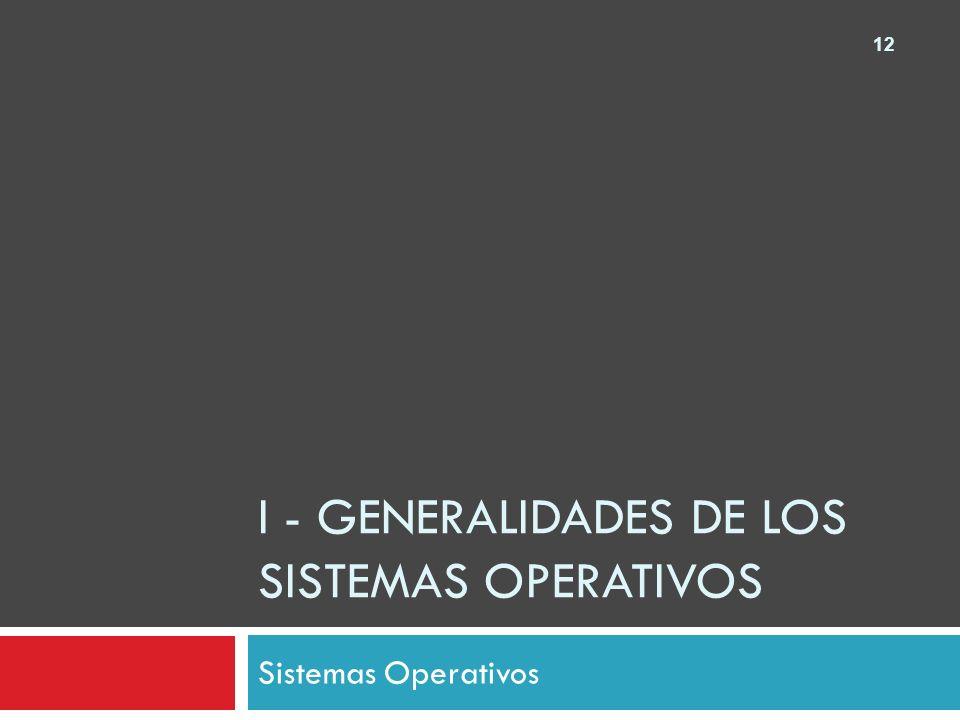 I - Generalidades de los sistemas operativos