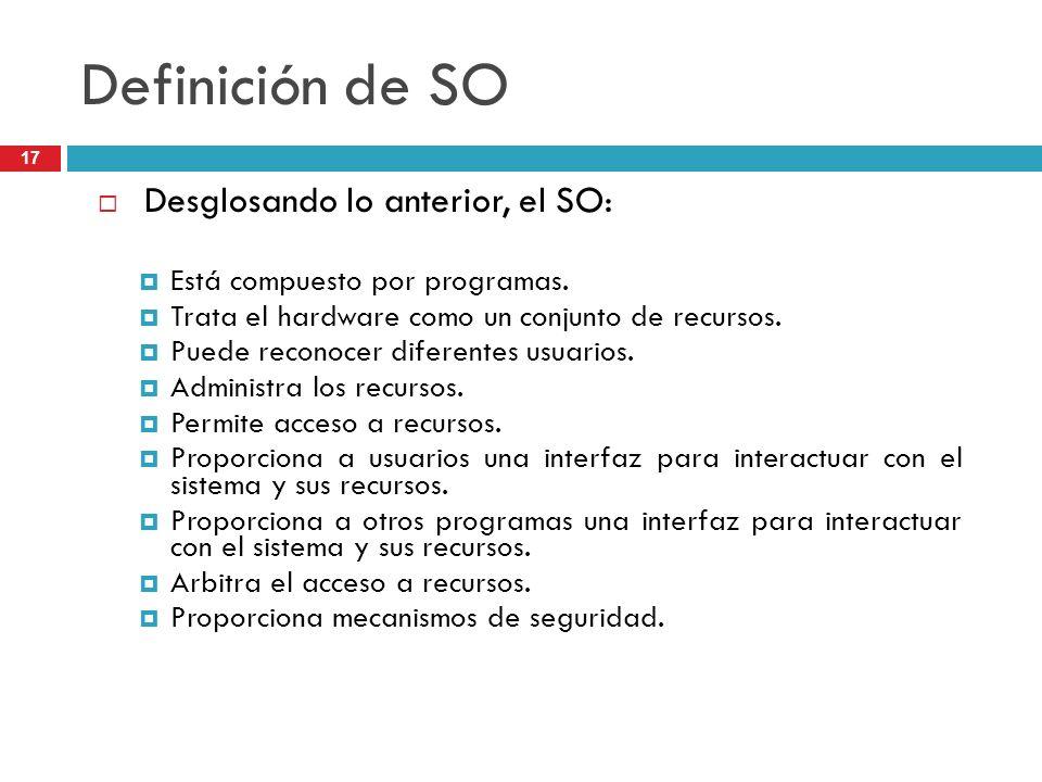 Definición de SO Desglosando lo anterior, el SO: