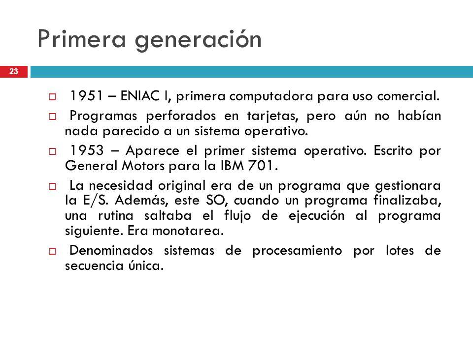 Primera generación1951 – ENIAC I, primera computadora para uso comercial.