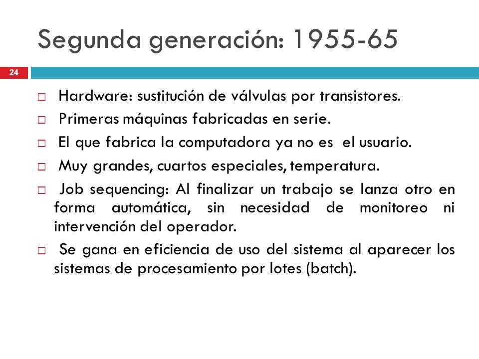 Segunda generación: 1955-65 Hardware: sustitución de válvulas por transistores. Primeras máquinas fabricadas en serie.