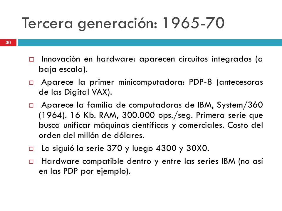 Tercera generación: 1965-70Innovación en hardware: aparecen circuitos integrados (a baja escala).