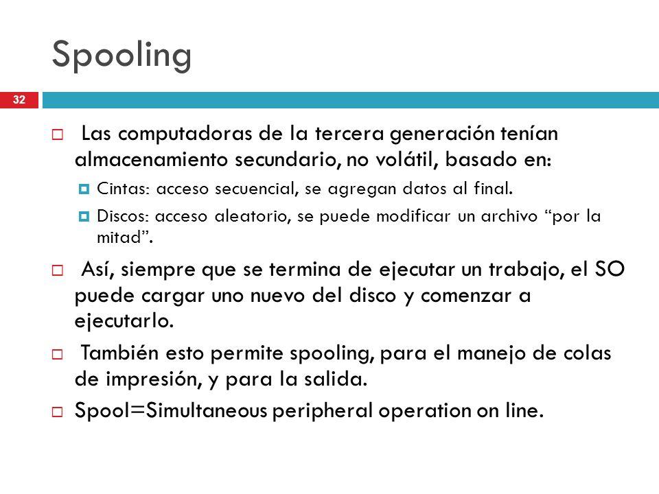 SpoolingLas computadoras de la tercera generación tenían almacenamiento secundario, no volátil, basado en: