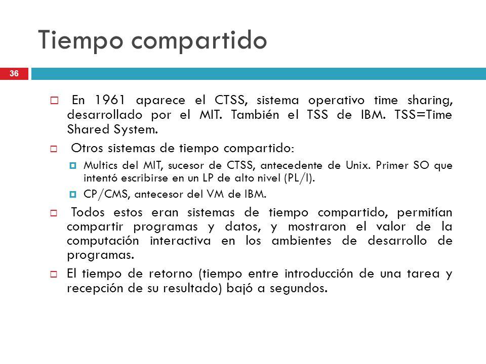 Tiempo compartido En 1961 aparece el CTSS, sistema operativo time sharing, desarrollado por el MIT. También el TSS de IBM. TSS=Time Shared System.