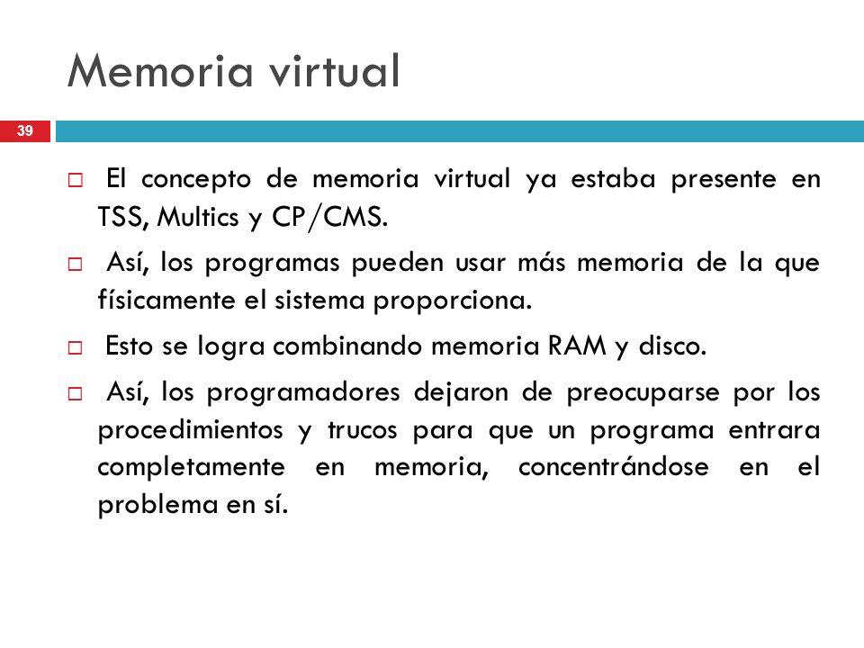 Memoria virtual El concepto de memoria virtual ya estaba presente en TSS, Multics y CP/CMS.