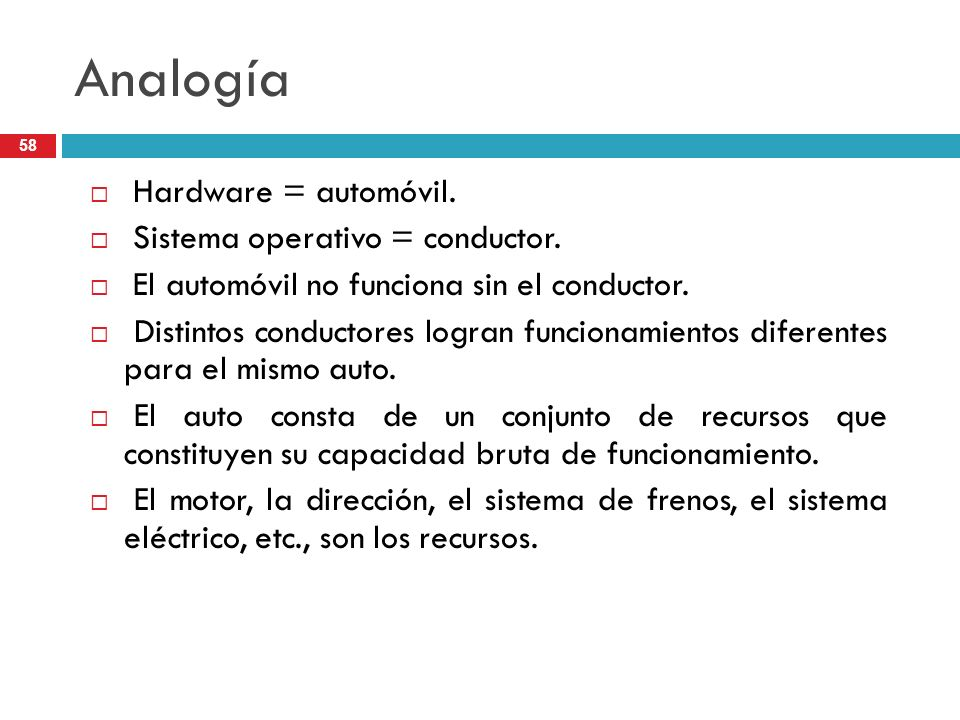 Analogía Hardware = automóvil. Sistema operativo = conductor.
