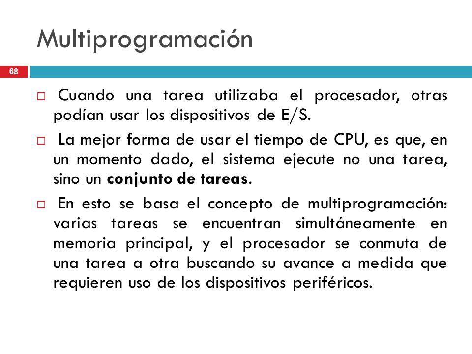 MultiprogramaciónCuando una tarea utilizaba el procesador, otras podían usar los dispositivos de E/S.