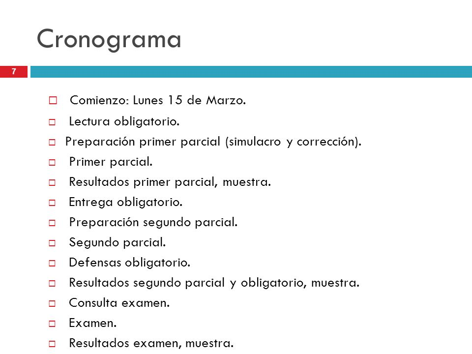 Cronograma Comienzo: Lunes 15 de Marzo. Lectura obligatorio.