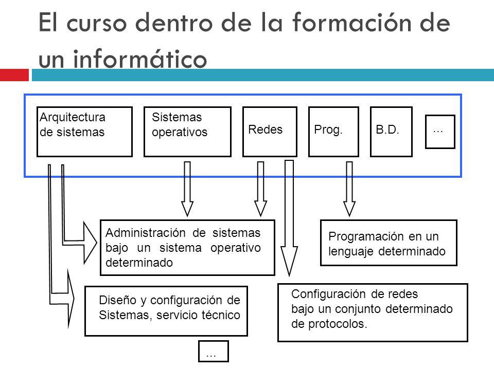 El curso dentro de la formación de un informático