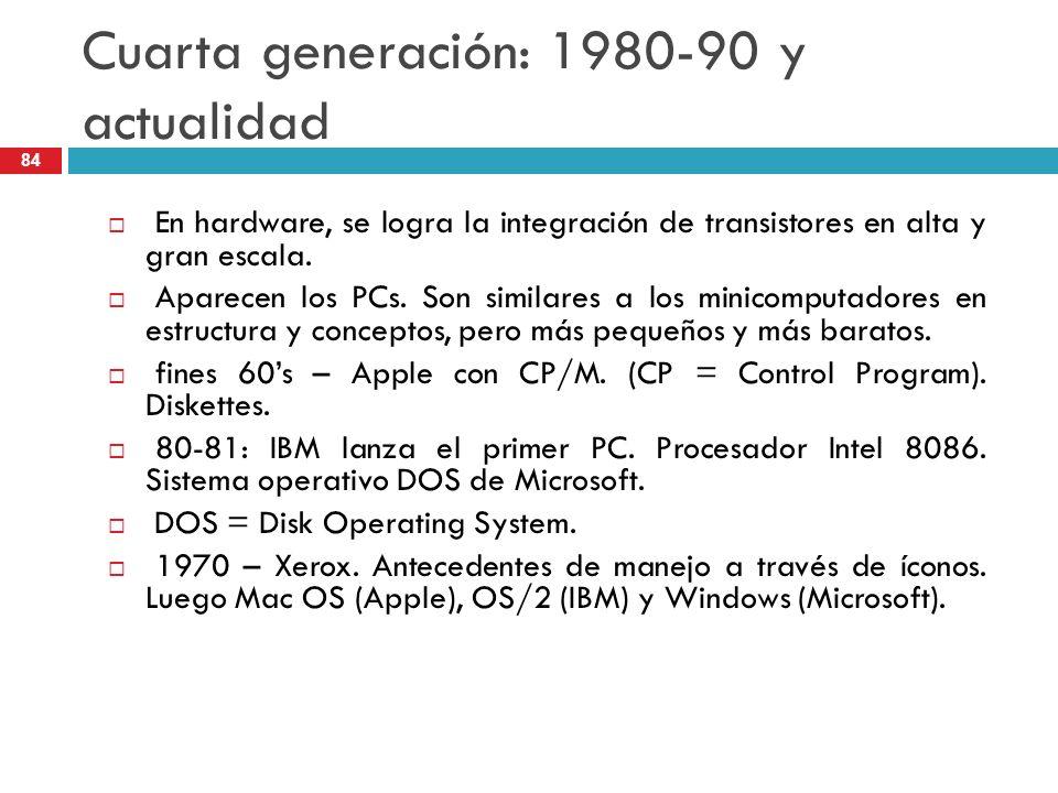 Cuarta generación: 1980-90 y actualidad