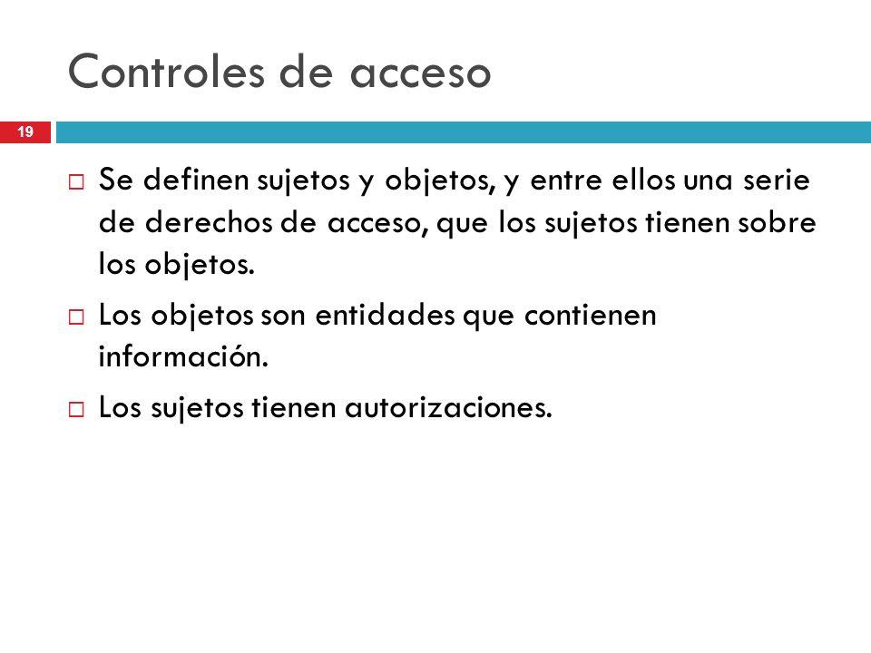 Controles de acceso Se definen sujetos y objetos, y entre ellos una serie de derechos de acceso, que los sujetos tienen sobre los objetos.