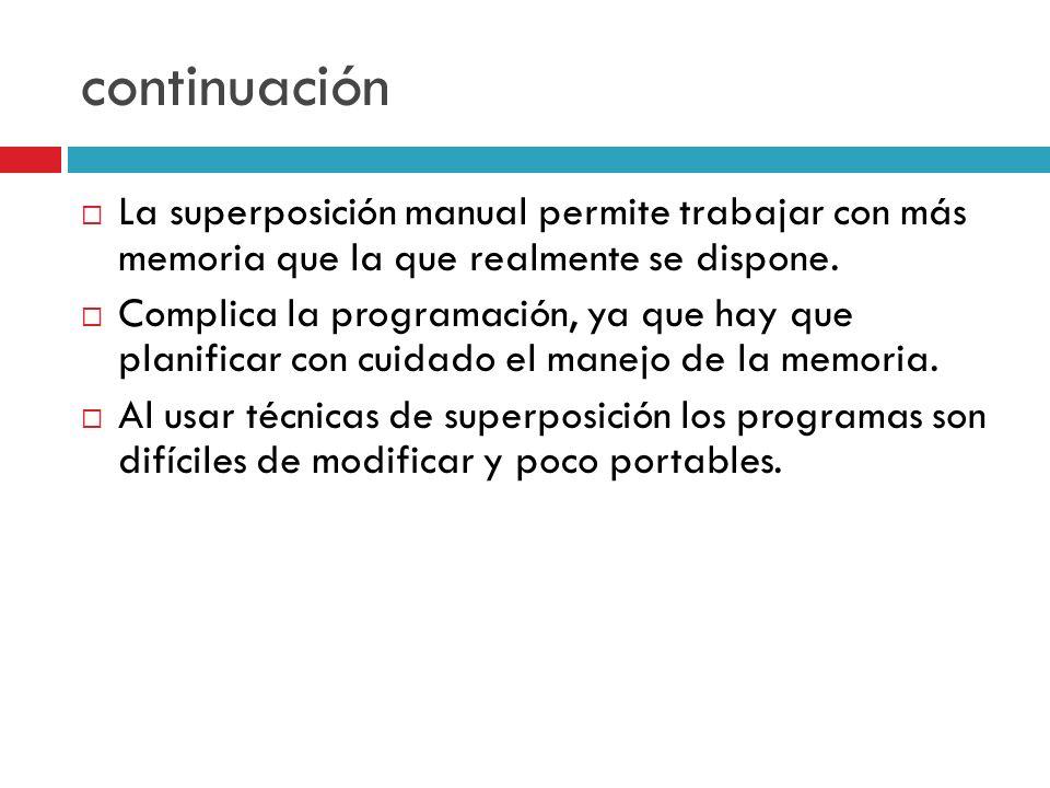 continuaciónLa superposición manual permite trabajar con más memoria que la que realmente se dispone.